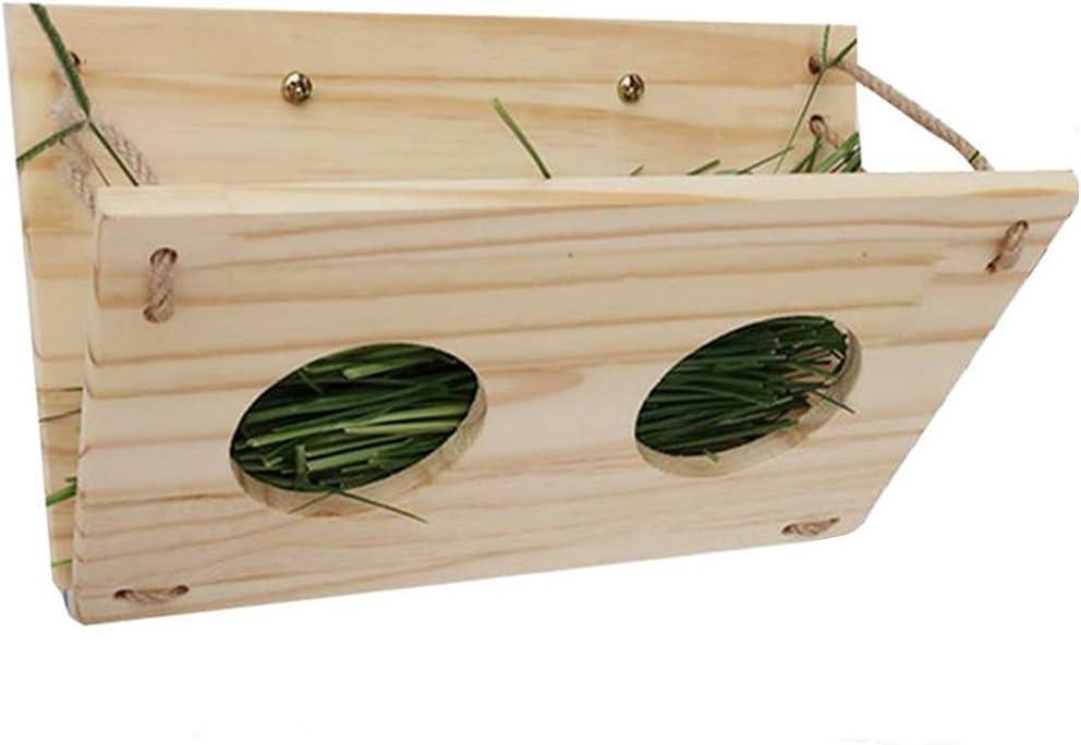 Tfwadmx Bunny Hay Feeder, Rabbit Food Dispenser Wooden Hay Manger Rack Holder for Guinea Pig Chinchilla Hamster