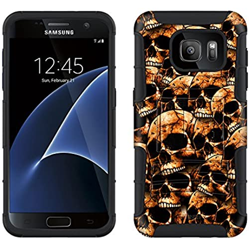 Samsung Galaxy S7 Armor Hybrid Case Orange Skulls on Black 2 Piece Case with Holster for Samsung Galaxy S7 Sales