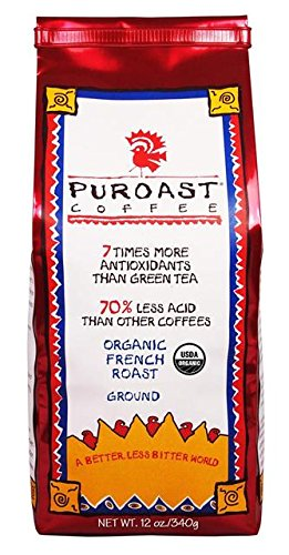 Puroast Low Acid Coffee Organic French Roast Teach Coffee, 12 Ounce Bag