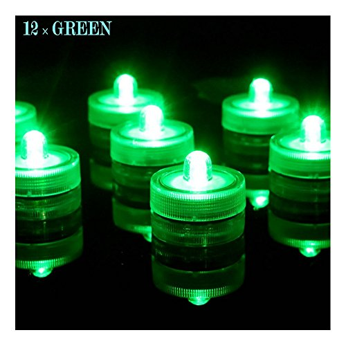 - Bright LED Battery Operated Flameless Tea Light, Submersible Tea Candle Waterproof Decorations Underwater Vase Light for Party and Wedding, Pack of 12, Green
