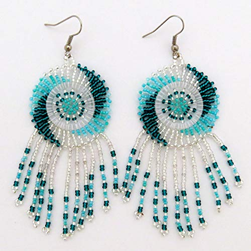African Zulu beaded earrings - Dreamcatchers (small) - Silver and aqua - Gift for -