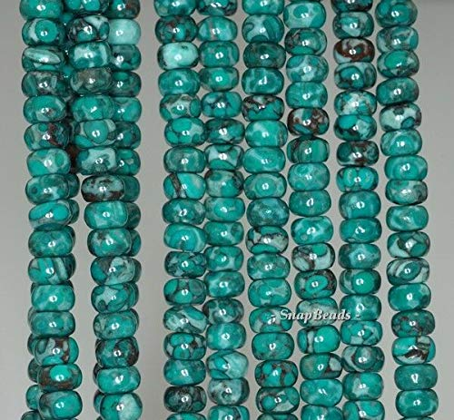 """6X4MM  TOMBOLO TURQUOISE GEMSTONE BLUE RONDELLE 6X4MM LOOSE BEADS 16/"""""""