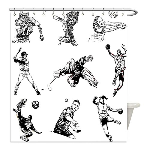 Zombie Tennis Player Costume (Liguo88 Custom Waterproof Bathroom Shower Curtain Polyester Olympics Decorations Basketball Football Volleyball Cricket Tennis Players Athletes Illustration Decor Black White Decorative bathroom)