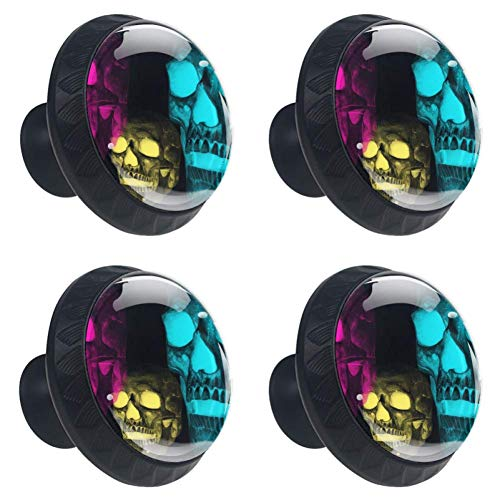 DEYYA 4 PCS Halloween Dead Death Skull Crystal Glass Drawer Knob Pull Handle 30mm Ergonomic Circle Furniture Cabinet Handle for Kitchen Dresser Cupboard Wardrobe -