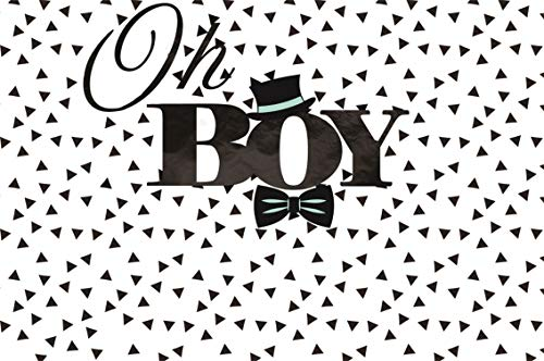 CSFOTO 8x6ft Background for Oh Boy Baby Shower Black Hat and Tie Bow Photography Backdrop Gender Reveal Party Banner Welcome Little Man Pregnant Newborn Infant Photo Studio Props Vinyl Wallpaper