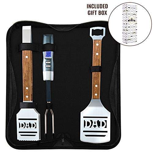 Hike Crew Dad BBQ Tools Gift Set – 4-Piece Grill Accessories Utensils Kit Perfect for Holiday, Birthday or Father's Day – Includes Tongs, Spatula, Digital Thermometer & Carrying Case (Gift Box) -
