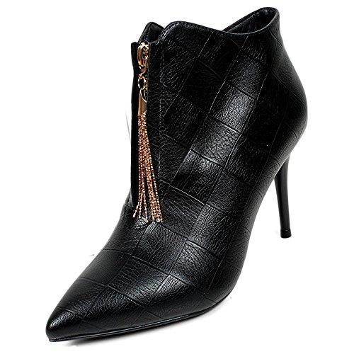 KHSKX-Winter Fransen Hochhackige Schuhe Frauen Mit Feinen Spitzen Stiefeln Schuhe Stiefel Sind Leer black