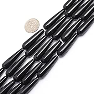 8x30mm Drop Gemstone Black Agate Beads Strand 15 Inch Jewelry Making Beads