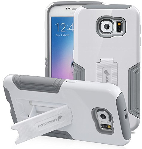 Fosmon® Samsung Galaxy S6 (HYBO-VIEW) Detachable Hybrid Dual Layer Case Cover with Kick Stand for Samsung Galaxy S6 - Fosmon Retail Packaging (White)