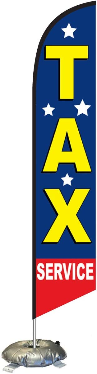Outdoor Advertising Banner Swooper Flag Stars Tax Service Feather Flag Kit with Cross-Base and Weight-Donut