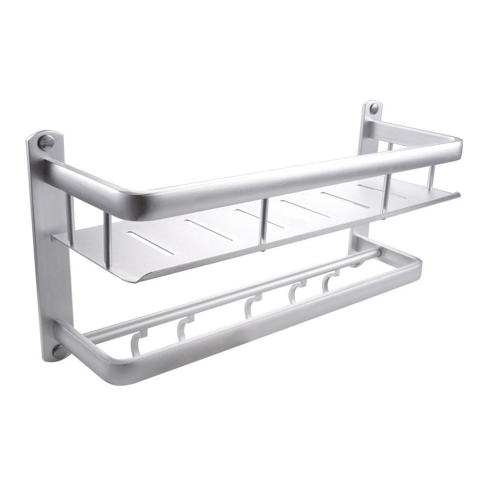 KES 16-Inch Bathroom Shelf with Rail Towel Bar and 5 Hooks Aluminum Heavy Duty Shower Shelving Rectangular Contemporary Style Wall Mount, BSC400S40A