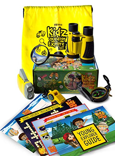 Kids Explorer Kit Outdoor Adventure Kit for Young Explorers | Nature Explorer Kit includes Children Binoculars Whistle Compass Magnifying Glass & Flashlight.Camping Gear for Kids Hiking Kids Spy Gear