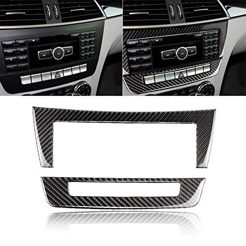 Misszhang-US 2Pcs Carbon Fiber Car Central Control CD Panel Sticker for Benz W204 C Class Classic Style -