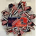 Ole Miss Rebels Football University Of Mississippi Wreath Handmade Deco Mesh