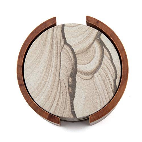 (Thirstystone Sandstone Wood Coaster and Holder, 4 inch round, Desert Sand w)