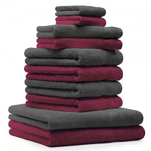 Betz 10 tlg Handtücher Set 100% Baumwolle 2 Duschhandtücher 4 Handtücher 2 Gästetücher 2 Waschhandschuhe Duschtuch Badetuch Handtuch Premium Farbe Dunkel Rot & Anthrazit Grau
