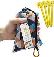"""HZJY Outdoor Picnic Blanket (71"""" x 55"""") -Compact Lightweight Waterproof Sand Proof Pocket Blanket Be"""
