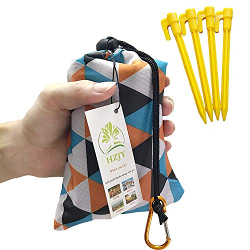 Foldable Beach Blanket (71 x 55) -Compact, Lightweight Sand Proof Pocket Blanket Best Mat for The Beach, Hiking, Camping,Travel Festivals with Pockets, Loops, Stakes, Carabiner (Camouflage Lattice)