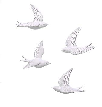 Beliebt Wanddeko - Schwalben in 3D-Optik - Porzellan - Weiß - 4 Stück RR75