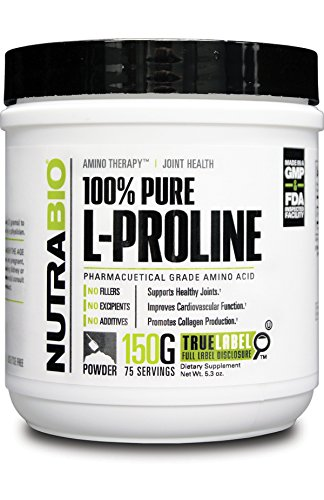 NutraBio 100% Pure L-Proline Powder - 150 Grams