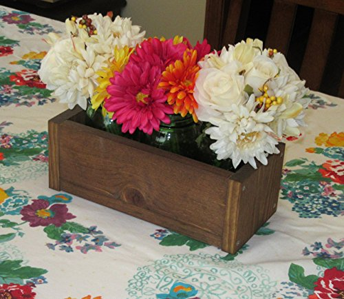 Stained Wood Planter Box • Mason Jar Centerpiece, Small wood box, Candle Holder, Wedding Centerpiece • 12 inches long