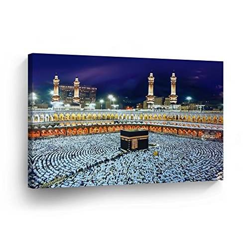 Islamic Wall Art Devotion for Kaabah Mecca Canvas Print Masjid Al-Haram Home Decor Suudi Arabia Decorative Artwork Gallery Stretched and Ready to Hang -%100 Handmade in the USA - 24x36 by SmileArtDesign