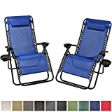 Sunnydaze Navy Blue Outdoor Oversized Zero Gravity Lounge Chair with Pillow and Cup Holder, Set of Two