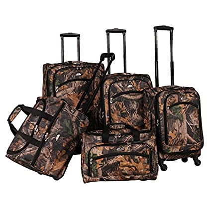 Image of American Flyer Camo 5-Piece Spinner Luggage Set, Green, One Size