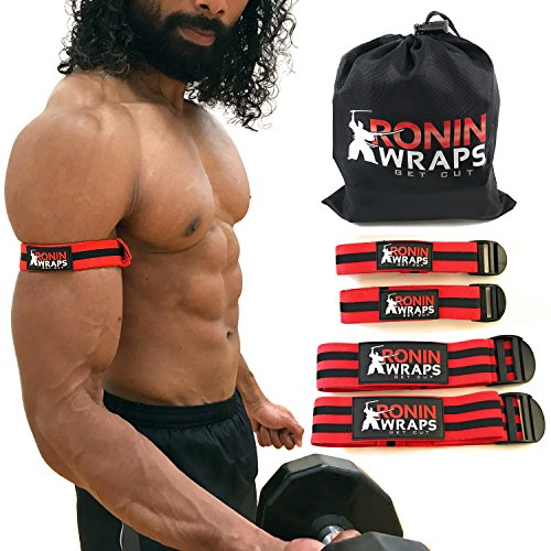 Ronin Wraps | BFR Occlusion Bands | Blood Flow Restriction Training | 4 Pack (2 for arms - 2 for Legs) | Free 21 Page Ebook | Sleek NO Pinch Buckle Design | Comfortable Elastic Material