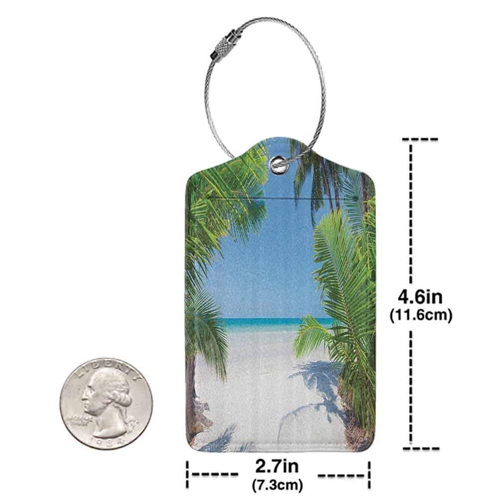 Printed luggage tag Ocean Decor Palm Leaf And Tropical Beach Coastline Protect personal privacy W2.7 x L4.6