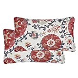 Mika Home Pack of 2 Jacquard Circle Floral Rectangle Throw Pillow Covers Oblong Pillow Cases for 12X20 Inserts Cream Red