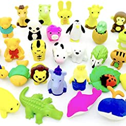 OHill Pack of 32 Animal Erasers Bulk Kid...