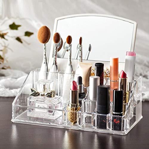 Organizador de cosm/éticos con Espejo JK/_7024 Organizador de Maquillaje takestop/® Joyas acr/ílicas Transparentes Expositor de 16 Compartimentos
