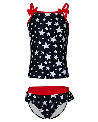 iDrawl Girls Tankini Beach Sport Swimsuit Two Piece Stars Swimwear by iDrawl (Image #1)