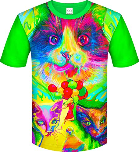 aofmoka Neon New York Cats Celebrations Games Reactive Top T Shirt for Kids