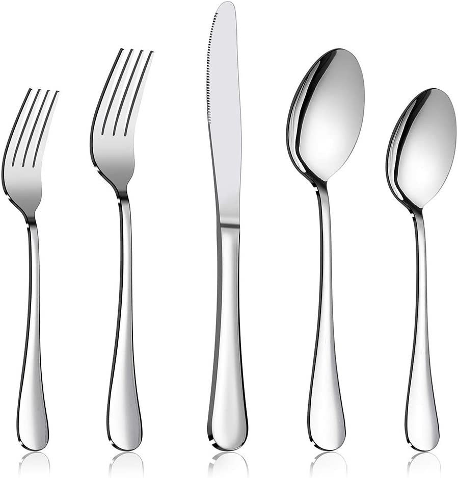 Flatware Set E-far 20-Piece Silverware Set Stainless Steel Cutlery Set for Kitchen Hotel Restaurant Mirror Polished /& Dishwasher Safe Service for 4