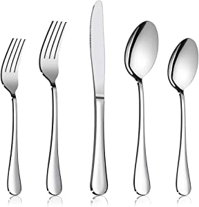 60-Piece Silverware Flatware Set, E-far Stainless Steel Dinner Cutlery Utensil Set Service for 12, Suitable for Home/Restaurant/Hotel/Party, Simple Design, Mirror Finished - Dishwasher Safe