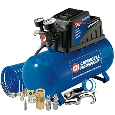 Campbell Hausfeld Air Compressor, 3-Gallon Horizontal Oilless with 10 Piece Kit .36 CFM .33HP 120V 3A (FP209499AV) from Campbell Hausfeld
