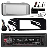 96-2013 Harley Touring Stereo Radio Install Adapter Dash kit Flht Flhx Flhtc Kenwood USB AUX Stereo Radio w/ Thumb control Interface Included Radio mounting kit, Installation instructions included, HDWS1B Radio Cover for Harley-Davidson Stereo
