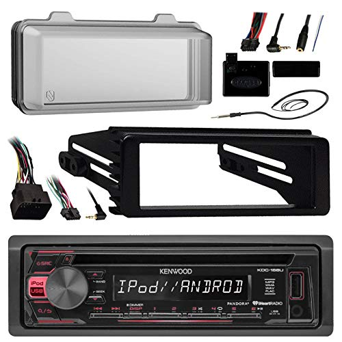 96-2013 Harley Touring Stereo Radio Install Adapter Dash kit Flht Flhx Flhtc Kenwood USB AUX Stereo Radio w/ Thumb control Interface Included Radio mounting kit, Installation instructions included, HDWS1B Radio ()