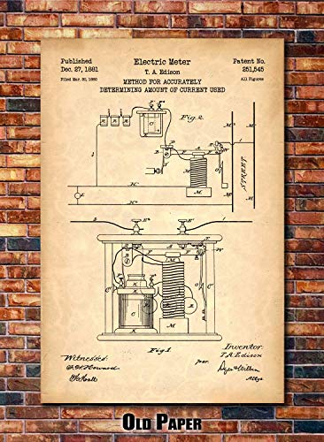 (Edison Electric Meter Patent Print Art 1881 (multiples sizes and colors available))