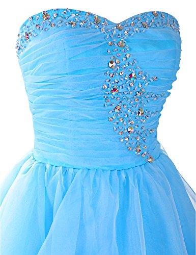 Dresstells®Vestido De Fiesta Baile Corto De Organdí Escote Corazón Con Cuentas Azul Real