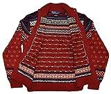 Polo Ralph Lauren Buffalo Nordic Cardgian Cotton Linen Sweater Red Navy Medium