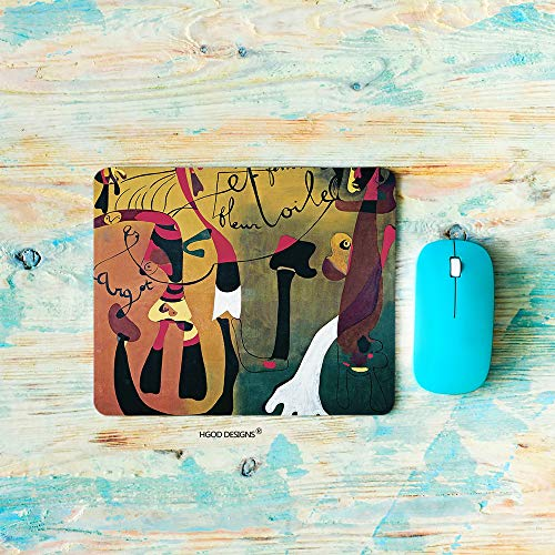 - HGOD DESIGNS Painting Gaming Mouse Pad,Leave Land Modern Style Joan Miró Abstract Gorgeous Colourful Painting Mousepad Rectangle Non-Slip Rubber Mouse Pads(7.9