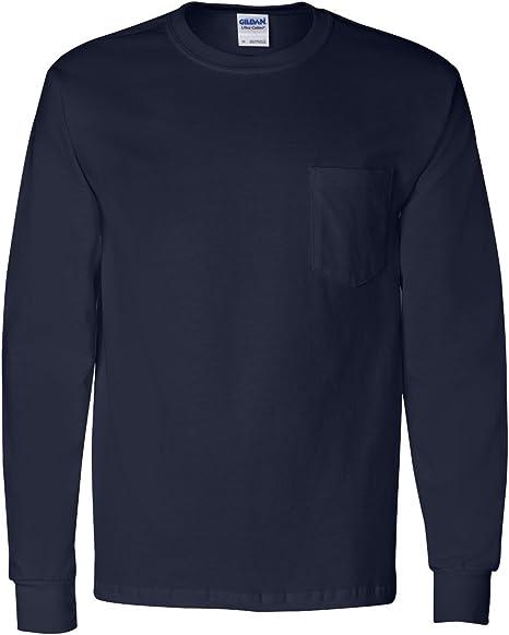 Gildan Mens Ultra Cotton Long Sleeve T Shirt with a Pocket 2410 up to 5XL