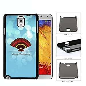Happy Thanksgiving Cute Turkey On Blue Background Samsung Galaxy Note III 3 N9000 Hard Snap on Plastic Cell Phone Case Cover