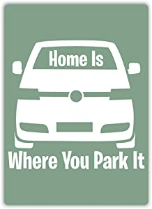 Jesiceny Great Tin Sign Aluminum Home is Where You Park It Outdoor & Indoor Sign Wall Decoration 12x8 INCH