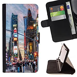 King Air - Premium PU Leather Wallet Case with Card Slots, Cash Compartment and Detachable Wrist Strap FOR Apple iPhone 6 6S 4.7 - New York City