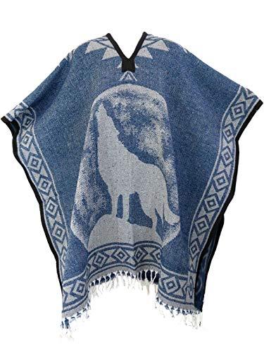 Authentic Mexican Poncho Reversible Cobija Blanket - Lone Wolf (Denim ()