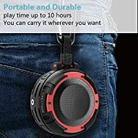 Super Bass and HD Sound,for Bathroom Pool and Outdoor Shower Speaker Bike Built in Mic Beach Portable Bluetooth Speaker,CREATMOR IPX8 Waterproof Bluetooth Wireless Speaker with 4 LED Light Modes